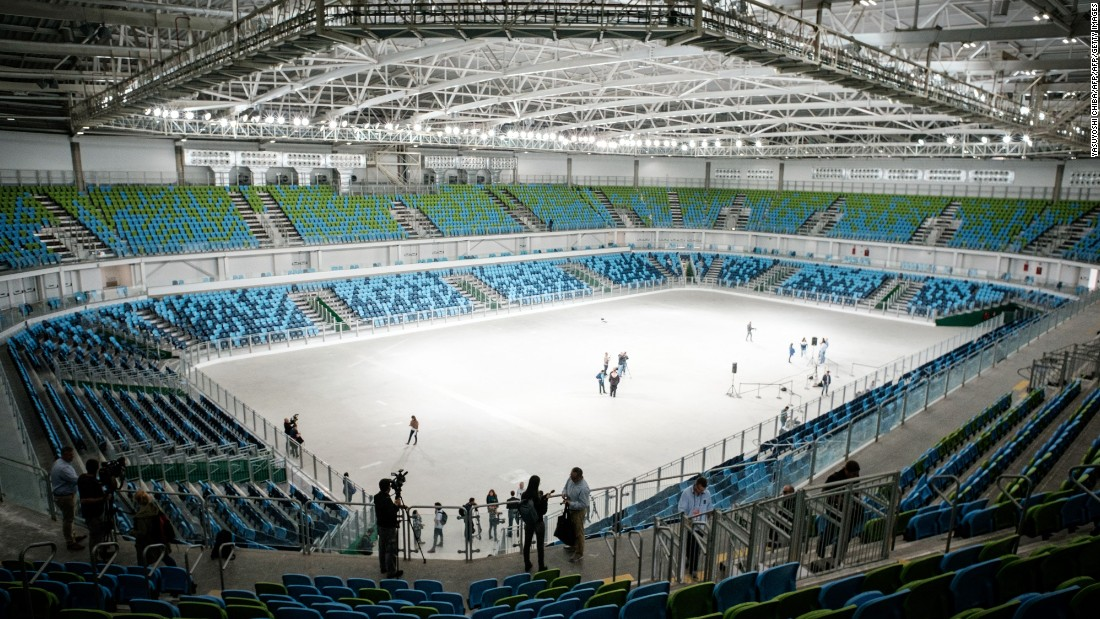 Inside one of the halls of the new Olympic Training Center on the Barra park. This one will host judo and wrestling during the Rio Olympics.