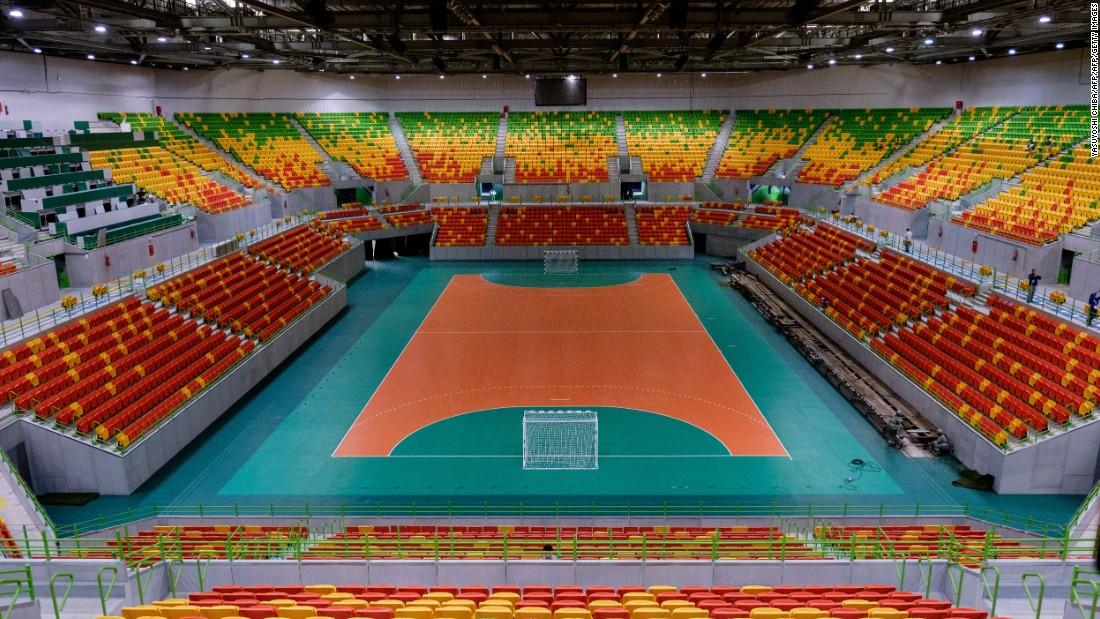 A general view of inside the Future Arena at the Olympic Park which will host handball matches during the Summer Games in Rio.