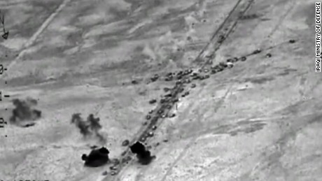 Airstrikes hit convoys carrying ISIS militants out of Falluja, U.S. officials say