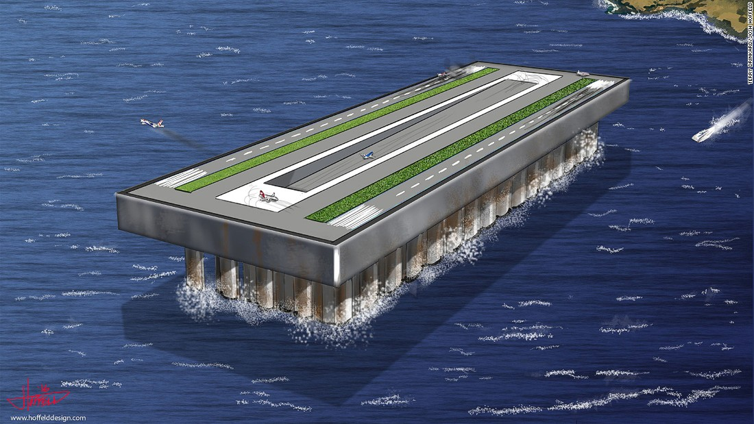 American aeronautical engineer Terry Drinkard's floating airport concept draws heavily from technologies and materials that have already been tested in the construction of deepwater oil rigs.