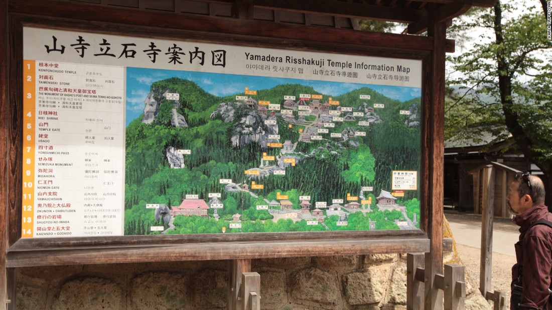 A map close to the temple entrance includes English information for visitors.