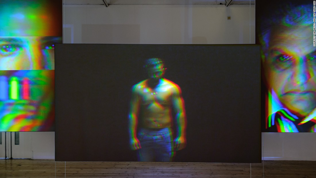 """In the five-channel video installation """"The Watchers No. 1-5"""", Al-Maria evokes the male gaze with a reenactment of a dream sequence in the script for """"Beretta.""""<br /><em><br />Still from """"The Watchers No. 1-5'"""" (2014) by Sophia Al-Maria</em>"""