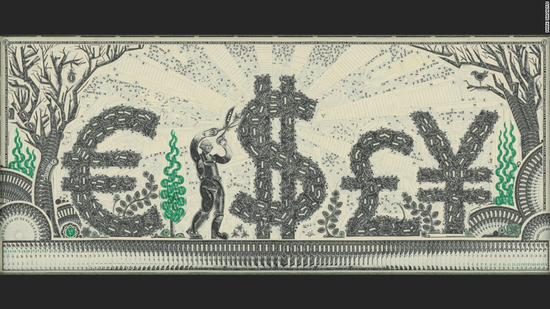 The artist says that money -- especially the U.S. one dollar bill -- is readily available and the design of the currency lends itself well to collage work.