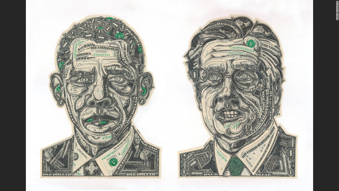 He says that money -- especially the U.S. one dollar bill -- is readily available and the texture and design of the bills lends itself well to collage work.
