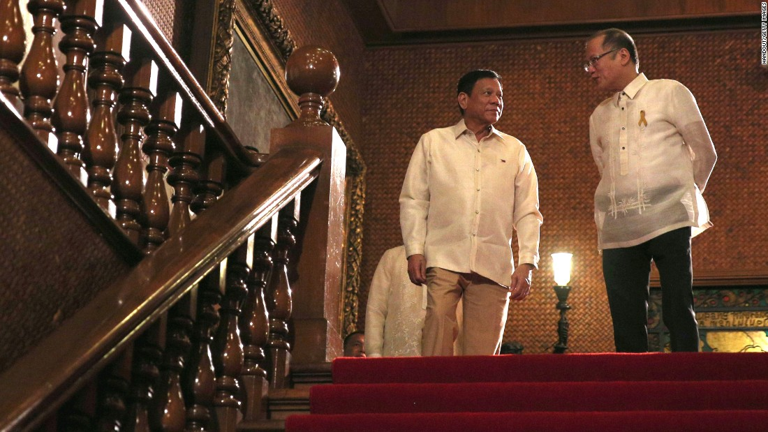 """Duterte (left), also known as 'The Punisher' from his term as <a href=""""http://www.cnn.com/2016/04/21/asia/philippines-rodrigo-duterte-profile/"""" target=""""_blank"""">mayor of Davao City</a>, has promised a ruthless and controversial war on crime as the chief focus of his six-year term."""