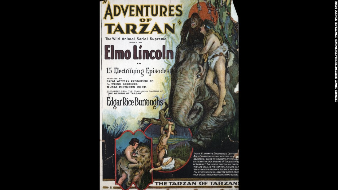 """The fourth screen version of Tarzan was a 15-part movie silent serial, """"Adventures of Tarzan"""", starring Elmo Lincoln, a little less naked in an animal skin. Stranded in Africa after his English parents die, young Tarzan is raised by an ape, battles animals and a volcano, and rescues Jane from Arab slave traders. A window card for the 1921 serial shows scenes."""