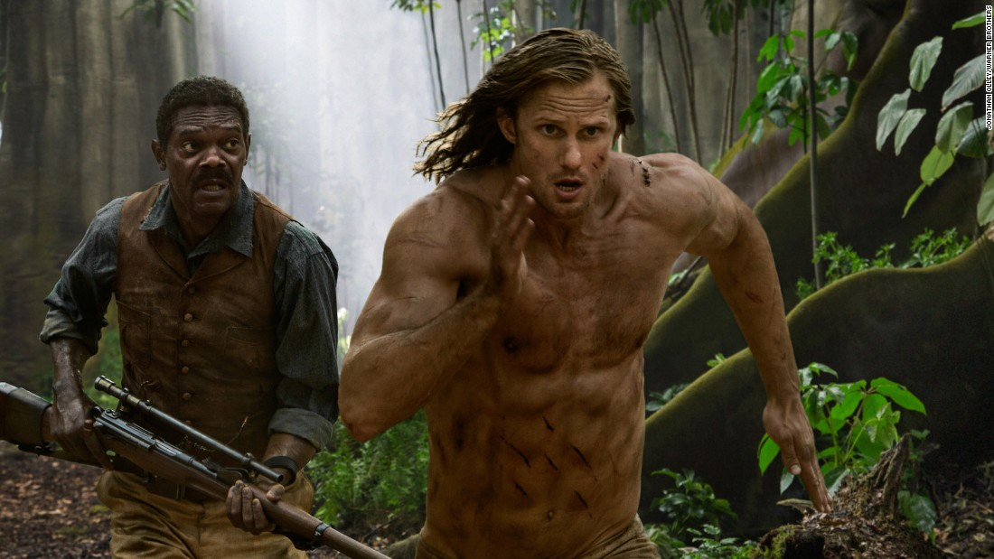"""2016's take on Tarzan, """"The Legend of Tarzan"""", features Alexander Skarsgård (shown here with Samuel L. Jackson) as the white hero, but avoids many of the earlier Tarzan mistakes, writes Beale. Native characters, most of them played by  African actors, such as Benin native Djimon Honsou, have speaking roles, and the film gives a sophisticated view of African society."""