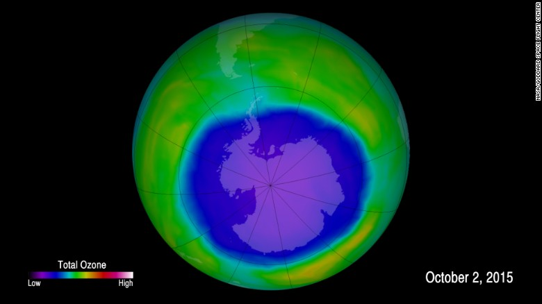 This image shows the ozone hole above Antarctica at its largest on October 2, 2015.