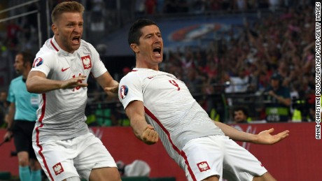 Robert Lewandowski fired Poland ahead after one minute and 40 seconds.