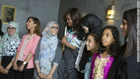 """First Lady Michelle Obama talks with students about """"girl power"""" prior to a conversation in support of the Let Girls Learn initiative, at Dar Diafa Restaurant in Marrakech, Morocco, June 28, 2016. (Official White House Photo by Amanda Lucidon)"""