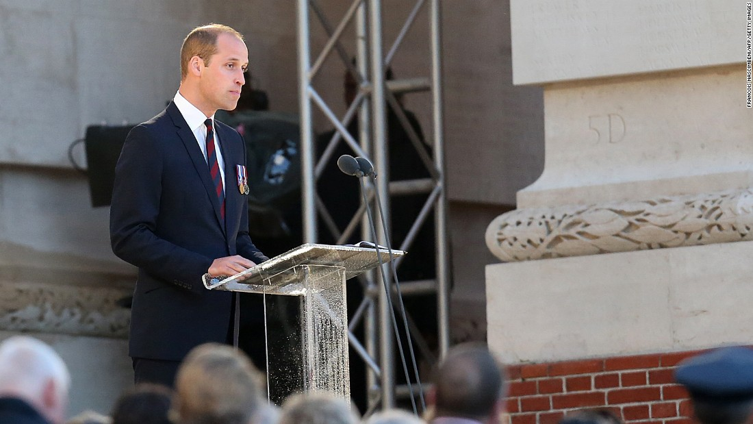 """Britain's Prince William delivers a speech during a commemoration ceremony at the Thiepval Memorial. The battle was the deadliest in British history, in which 20,000 men died on the first day of combat alone. In a foreword for the Somme Centenary Commemorative Service program, he wrote: """"It is truly terrifying to imagine the destruction wrought across this landscape 100 years ago today. However, we now return to the battlefield in a spirit of reconciliation and respect."""""""