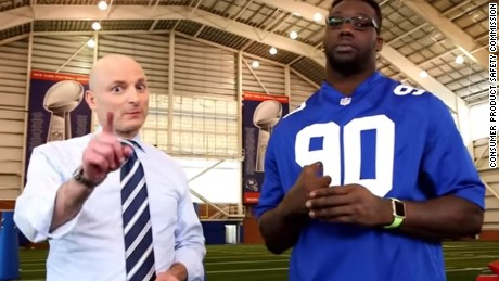 New York Giants player Jason Pierre-Paul participated in a fireworks safety PSA in 2016.