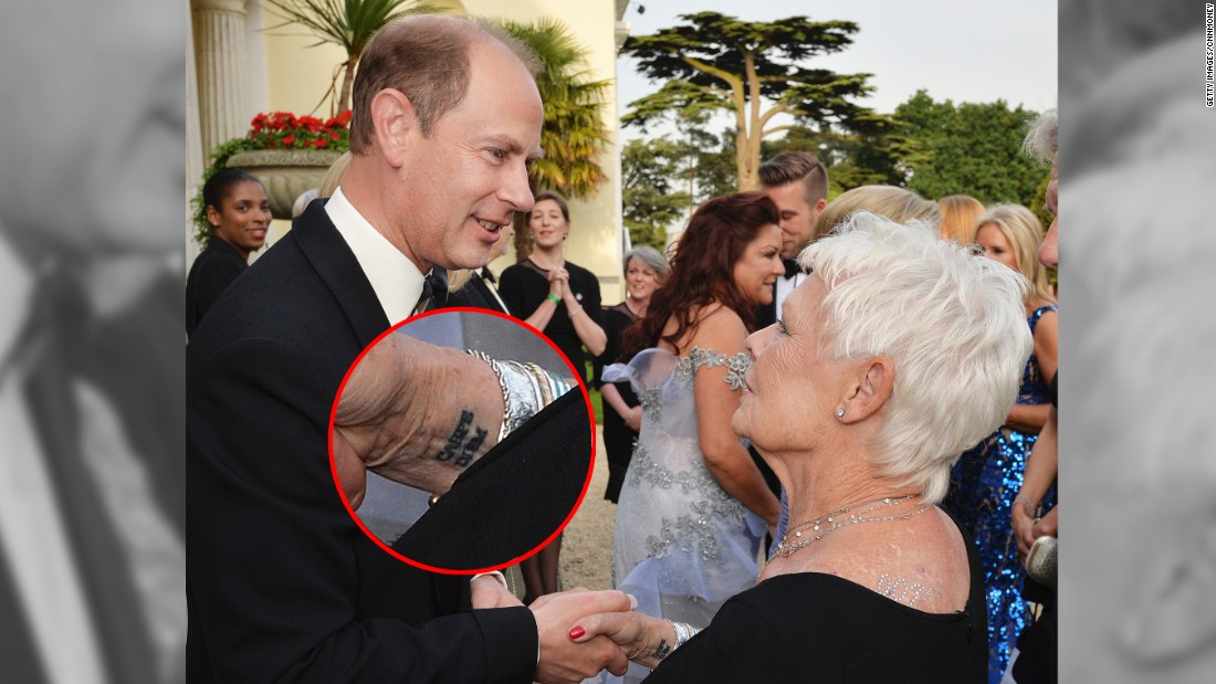 Dame Judi Dench got a tattoo for the first time. It's on ...