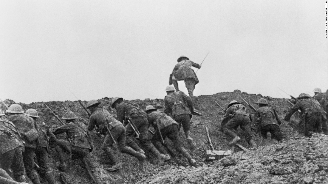 """A still from the film, """"The Battle of the Somme,"""" sequence 31,""""The Attack"""" is seen from the Imperial War Museum's collections. The film is on view at IWM London's exhibition, """"Real to Reel: A Century of War Movies,"""" through January 8, 2017."""