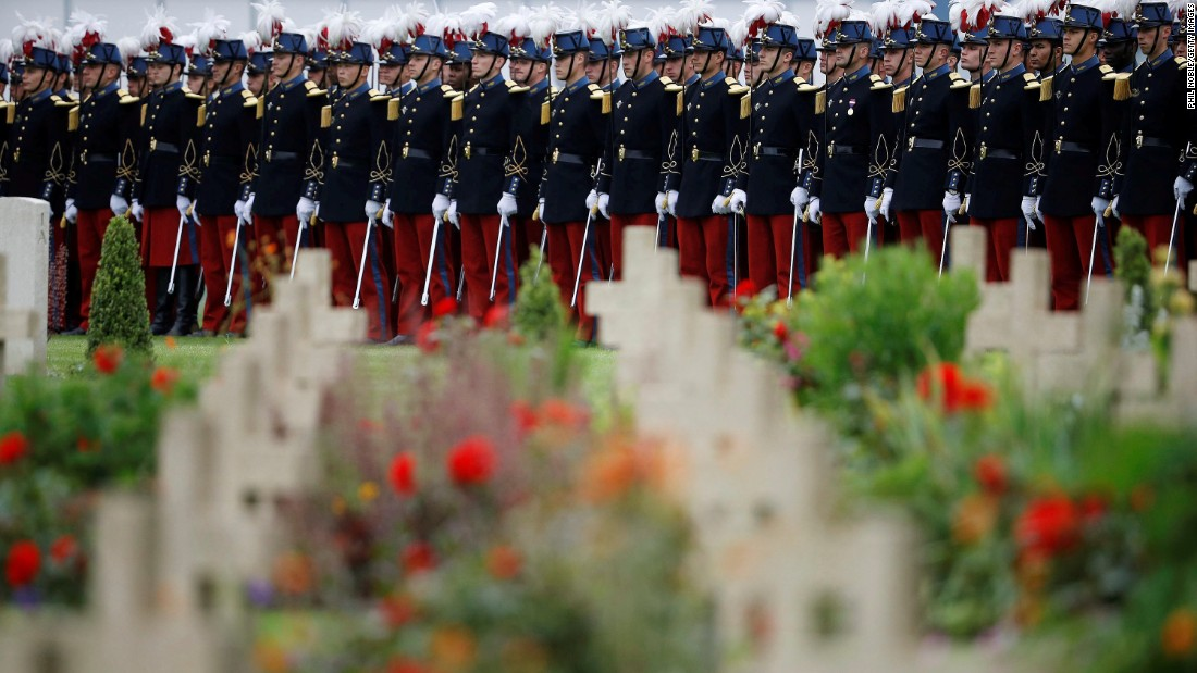 French soldiers stand in line during the Somme Centenary Commemorative Service at Thiepval Memorial to the Missing on Friday, July 1. It is 100 years since the Battle of the Somme took place, in which French and British armies fought the Germans during World War I. A series of major ceremonies are planned across Europe.