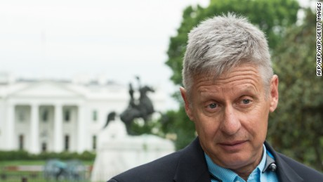US Libertarian Party presidential candidate Gary Johnson speaks to AFP during an interview in Washington, DC, on May 9, 2016.