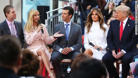 Republican presidential candidate Donald Trump sits with his wife Melania Trump and from left: daughter Tiffany, son Eric, daughter Ivanka and son Donald Trump Jr.while appearing at an NBC Town Hall at the Today Show on April 21, 2016 in New York City.