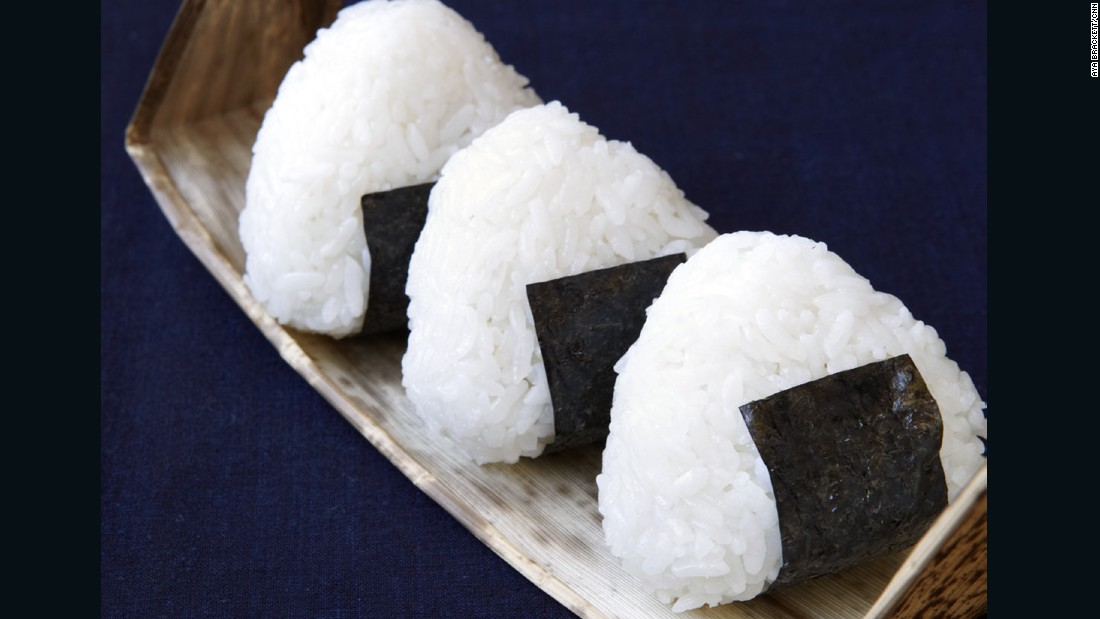 Salted, pressed rice sandwiches -- onigiri -- are easy to pack up, transport and eat, making them a substantial, satisfying finger food.