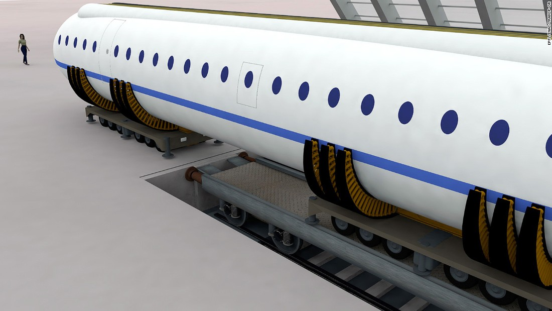 The same modules used in flight could be loaded onto rail tracks or trucks to continue the journey on land.