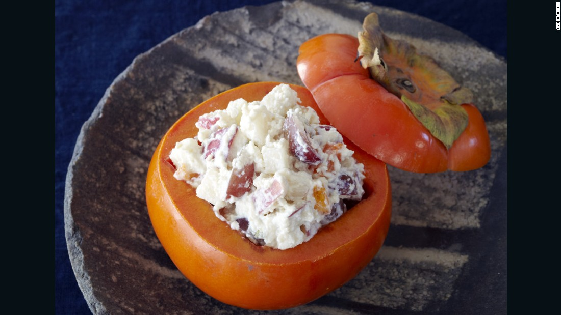 The diced persimmon is served on its own or in combination with other fall fruits -- grapes, pears, crisp apples -- that have been covered with a classic sauce of pine nuts and tofu called shira ae.