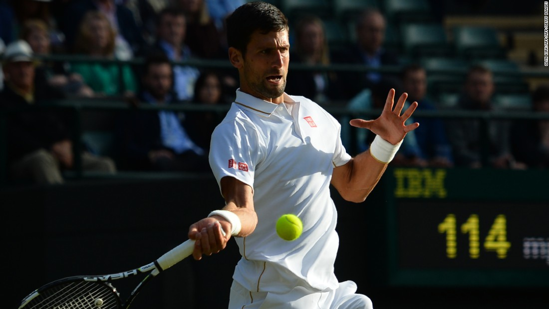Novak Djokovic, who has won four straight majors, trailed American Sam Querrey when rain halted play at 8 p.m. local time.