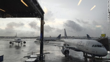 Flights are delayed at John F. Kennedy International Airport in New York during a tornado watch on Friday.