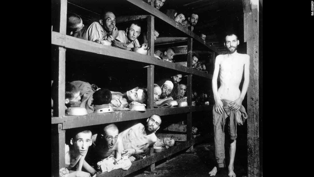 This April 16, 1945, photo provided by the U.S. Army shows inmates in their barracks at Germany's Buchenwald concentration camp a few days after its liberation by U.S. troops. Elie Wiesel, who died July 2, 2016, is in the middle row of bunks, seventh man from the left.