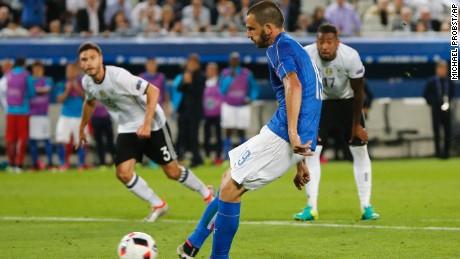 Leonardo Bonucci dragged Italy level from the penalty spot.