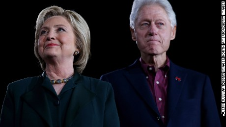 "LAS VEGAS, NV - FEBRUARY 19:  (L-R) Democratic presidential candidate former Secretary of State Hillary Clinton and her husband, former U.S. president Bill Clinton look on during a ""Get Out The Caucus"" at the Clark County Government Center on February 19, 2016 in Las Vegas, Nevada. With one day to go before the Democratic caucuses in Nevada, Hillary Clinton is campaigning in Las Vegas.  (Photo by Justin Sullivan/Getty Images)"