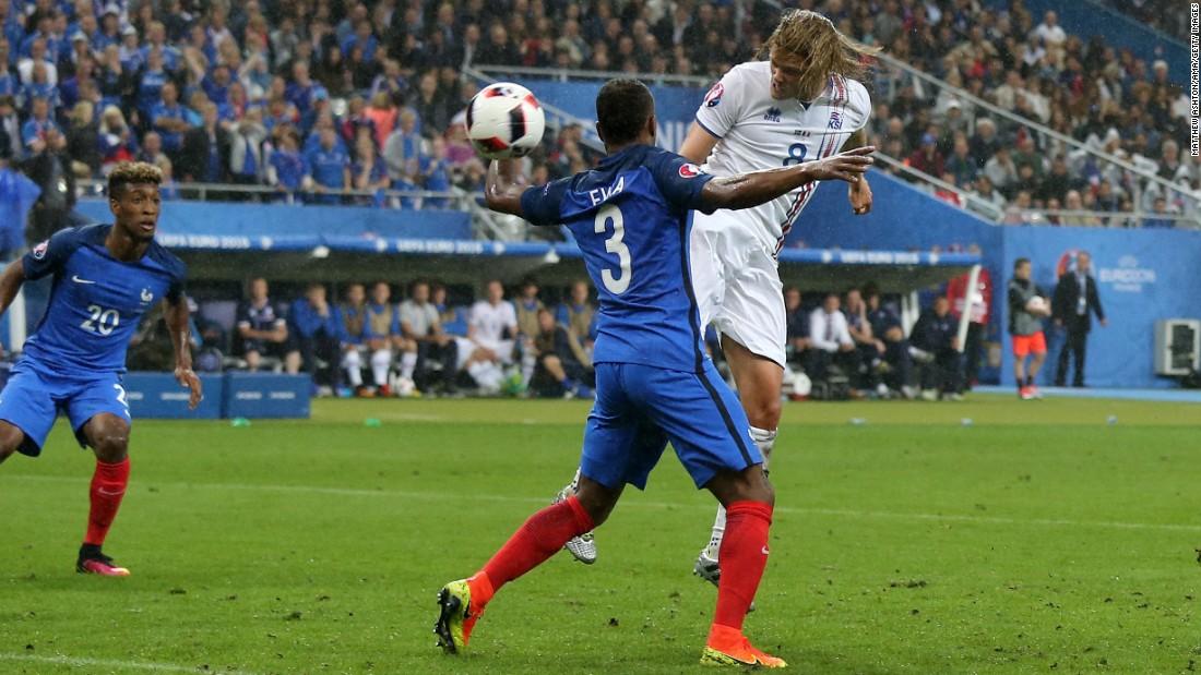 Birkir Bjarnason of Iceland scores a goal to make it 5-2.