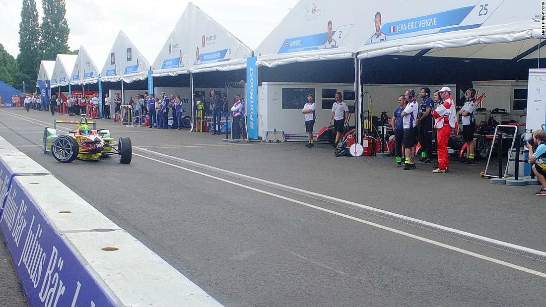 Buemi and di Grassi collided in the opening moments of the Sunday's title-deciding race. Here, di Grassi comes into the pit lane for repairs.