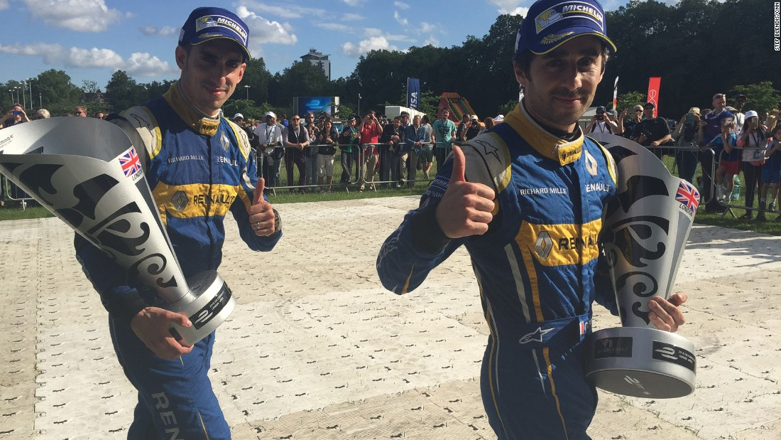 It was a day of triple triumph for Renault e.Dams at the Formula E London ePrix on Sunday. Nico Prost (right) won both the weekend's races while Buemi (left) clinched the drivers' title. The French team also sealed the Constructors' title.
