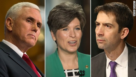 From left: Gov. Mike Pence of Indiana; Sen. Joni Ernst of Iowa; and Sen. Tom Cotton of Arkansas.