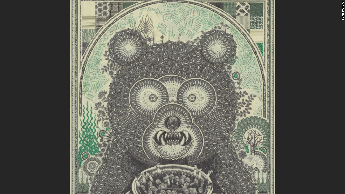 His works contain thousands of tiny slivers of the one dollar bill.