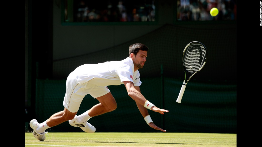 """Novak Djokovic slips in his third-round Wimbledon match against Sam Querrey on Saturday, July 2. Djokovic, the world's top-ranked player, lost in four sets. It was his <a href=""""http://www.cnn.com/2016/07/02/tennis/novak-djokovic-wimbledon/index.html"""" target=""""_blank"""">first loss in a Grand Slam</a> since the French Open final in June 2015."""