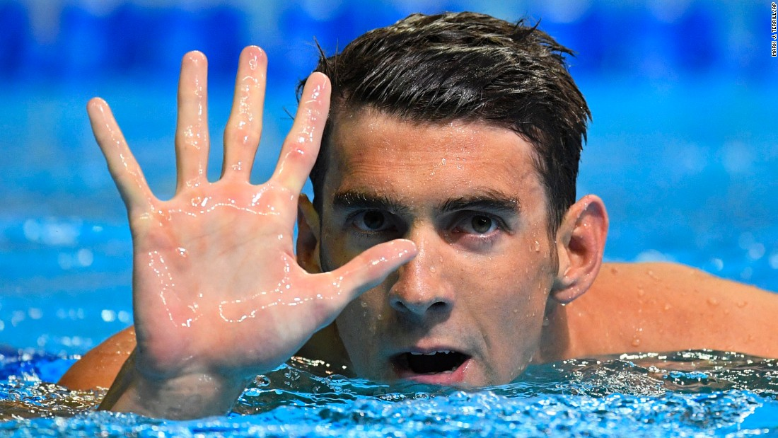"""Swimming legend Michael Phelps gestures after winning the 200-meter butterfly at the U.S. Olympic trials on Wednesday, June 29. He will be competing <a href=""""http://www.cnn.com/2016/06/30/sport/michael-phelps-olympics-rio-trials/index.html"""" target=""""_blank"""">in his fifth Olympic Games</a> next month."""