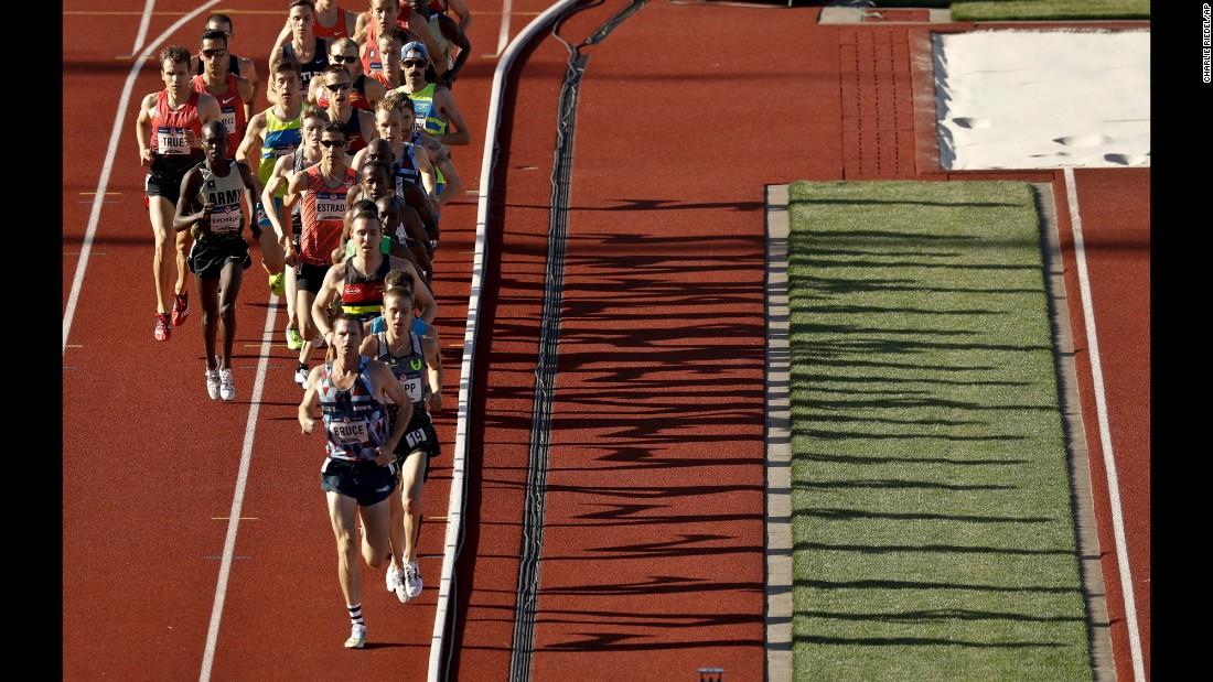 Runners compete in the 10,000 meters during the U.S. Olympic trials on Friday, July 1. Galen Rupp, seen here in second place, would go on to win the race.