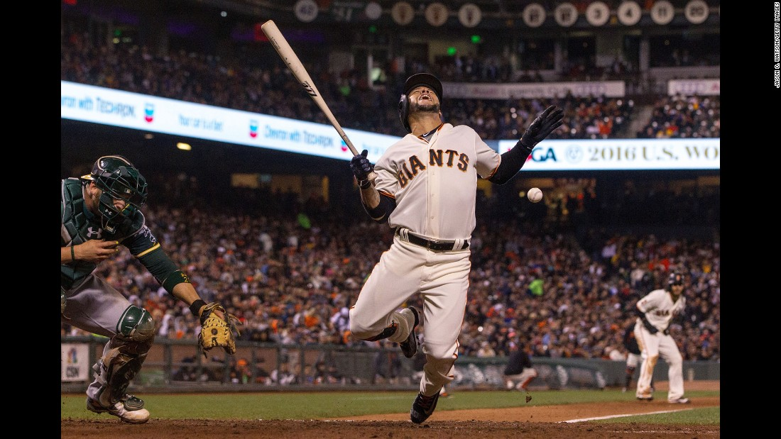 Gregor Blanco is hit by a pitch during a Major League Baseball game in San Francisco on Tuesday, June 28.