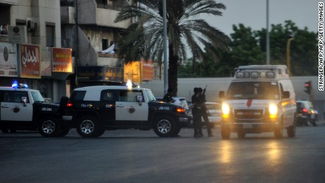 "Saudi policemen stand guard at the site where a suicide bomber blew himself up in the early hours of July 4, 2016 near the American consulate in the Red Sea city of Jeddah.    Security officers became suspicious of a man near the parking lot of Dr Suleiman Faqeeh Hospital, which is directly across from the US diplomatic mission. When they moved in to investigate ""he blew himself up with a suicide belt inside the hospital parking"" at around 2:15 am, the ministry said, adding that two security officers were lightly injured.   / AFP / STRINGER        (Photo credit should read STRINGER/AFP/Getty Images)"