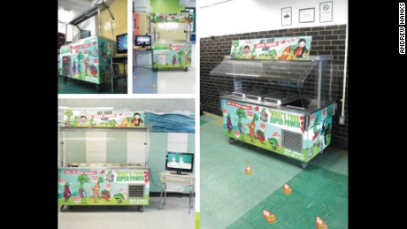 Banners with superhero vegetables were featured on salad bars in schools.