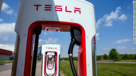 Tesla charging stations for electric cars are pictured in Wittenburg, northeastern Germany, on May 18, 2016. / AFP / dpa / Jens Büttner / Germany OUT        (Photo credit should read JENS BUTTNER/AFP/Getty Images)