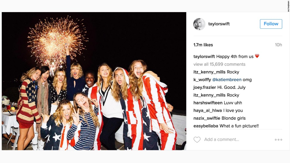Taylor Swift and her crew celebrated America's birthday in style this year. From American flag biker shorts to a stars-and-stripes onesie, these other celebs wear their patriotism on their sleeves as well as more surprising places. Note that some of these looks are kind of like fireworks: best left to the pros.