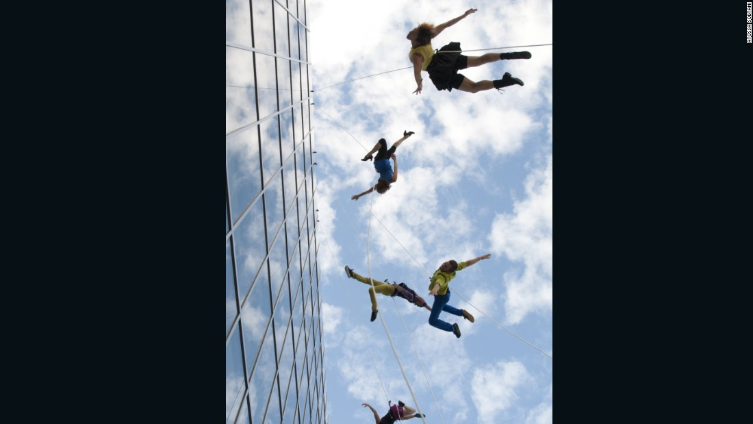 """Hanging from a building that's over 400 feet tall is, first of all, just scary. In addition, one has to deal with wind and pollution -- things no traditional dancer would ever have to deal with,"" says Amelia Rudolph, BANDALOOP's founder and artistic director."