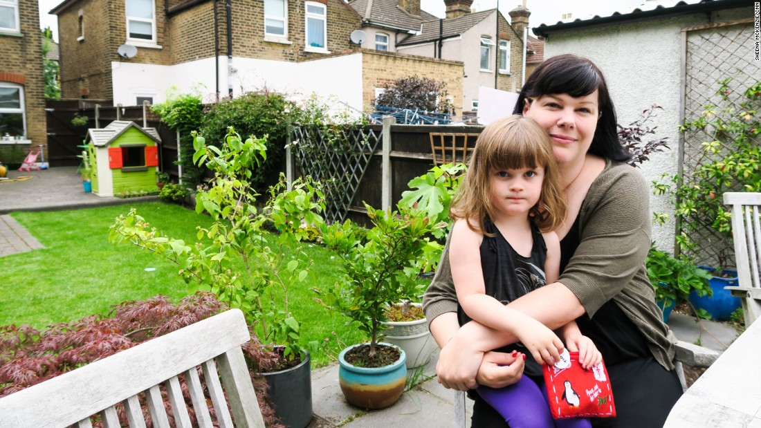 """I want to live in a Britain that's forward-thinking and welcoming,"" said  Angelina Leatherbarrow, pictured with daughter Gwen."