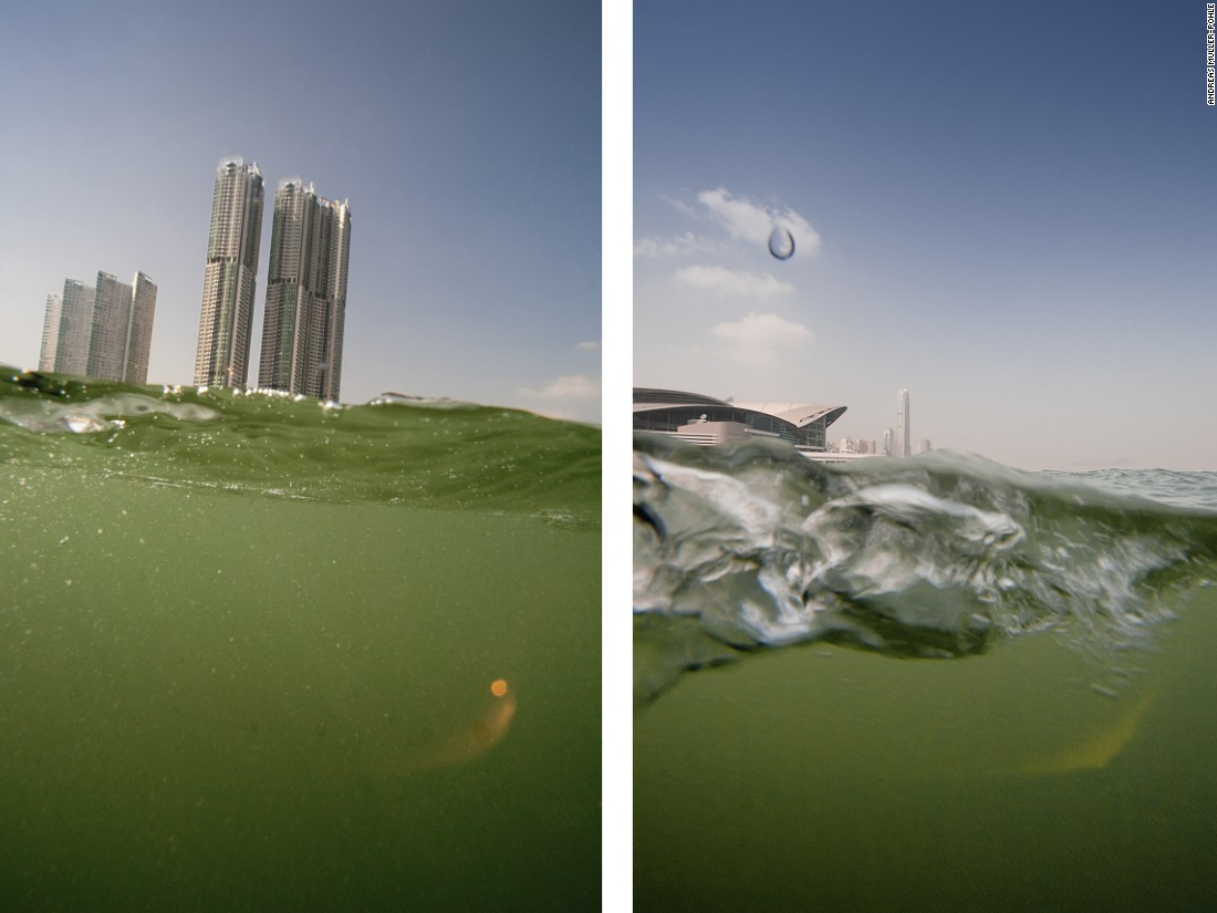 """""""Two dimensions define the image of Hong Kong: its vertical urbanity and its horizontal conformity to the water,"""" says Germany-based show co-curator and photographer Andres Müller-Pohle. This series, taken half above and half below the water surface, aimed at """"bringing these two dimensions together."""""""