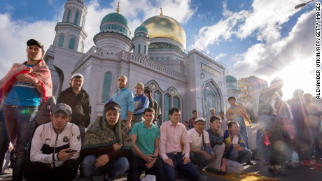 Muslims gather to offer prayers at the central mosque in Moscow on July 5 during celebrations for Eid al-Fitr marking the end of the the Islamic holy month of Ramadan.