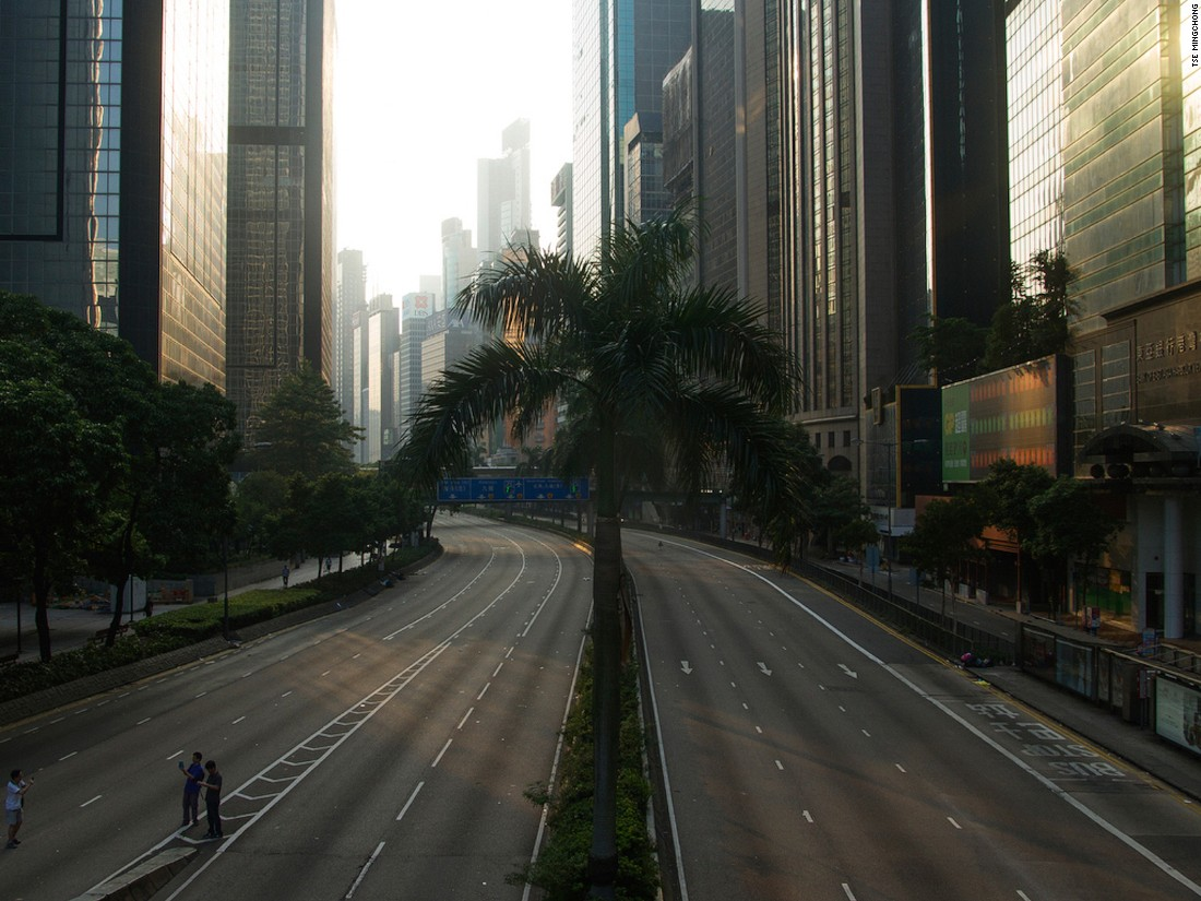 """Show co-curator and Hong Kong photographer Tse Mingchong documented the empty roads of downtown Hong Kong as they were blocked off by protesters the 2014 demonstrations. """"A viewer can construct their own story about what happened,"""" he says."""
