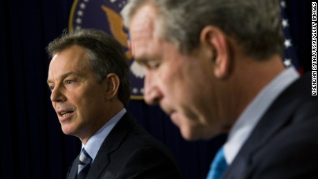 U.S. President George W. Bush and British Prime Minister Tony Blair hold a press conference December 7, 2006 at the Eisenhower Executive Office Building of the White House in Washington, DC. Bush and Blair had a breakfast meeting to discuss the current situation in Iraq.