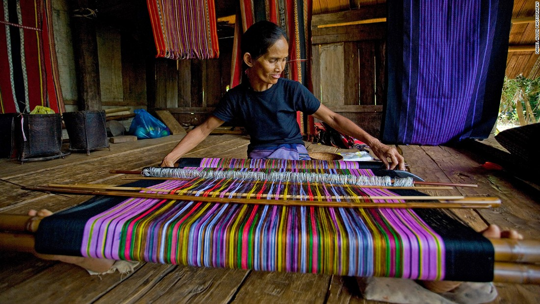 Located on the road from Pakse to Tad Lo waterfall, the small village of Ban Houay Houn is home to around 100 Katu families, many of whom are weavers. Katu textiles often feature motifs created by weaving beads into the fabric. They're typically hand-made with back strap looms operated by a female weaver sitting on the floor.