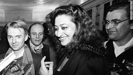 Zaha Hadid and Alvin Boyarsky at the Architecture Association in 1983.